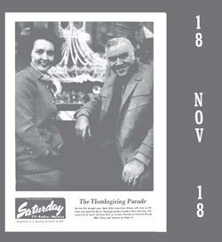An advertisement for the 1967 Macy's Thanksgiving Day Parade featuring hosts Betty White and Lorne Green in low-resolution grayscale. Photo credit: Binghamton NY Press, November 18th, 1967 via Old Fulton NY Post Cards